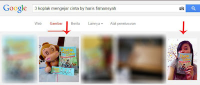 "Hasil pencarian ""3 koplak mengejar cinta by haris firmansyah"" di Gambar Google di baris pertama."