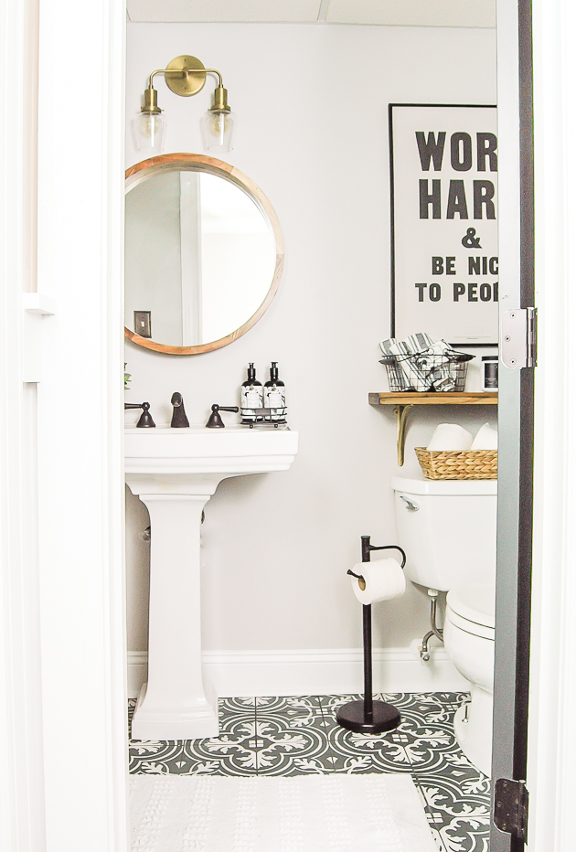 bold patterned tile, bathroom, modern industrial farmhouse