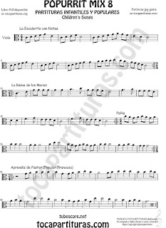 Mix 8 Partitura de Trombón y Bombardino La Escaleritas con Notas, La Reina de los Mares, Polka Sheet Music for Popurrí 8 Trombone and Euphonium Music Scores   Mix 8 Partitura de Viola La Escaleritas con Notas, La Reina de los Mares, Polka Popurrí 8 Sheet Music for Viola Music Score