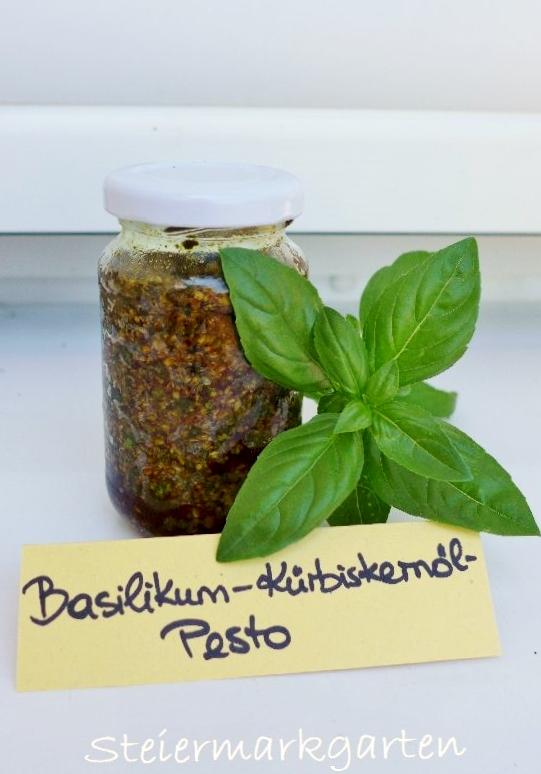 Basilikum-Kürbiskernöl-Pesto-Steiermarkgarten