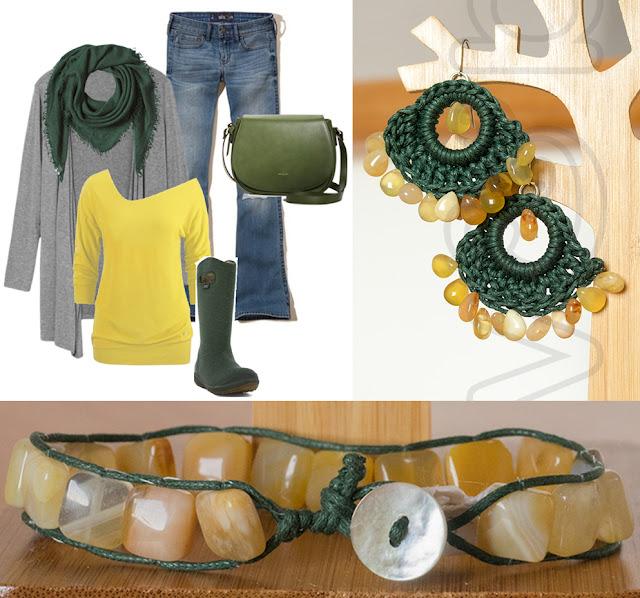 orecchini crochet e bracciale con calcite gialla