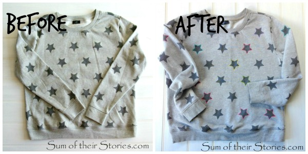 Star Stitched Sweatshirt refashion before and after photos