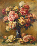 Roses in a Vase by Pierre-Auguste Renoir - Flowers, Still Life Paintings from Hermitage Museum