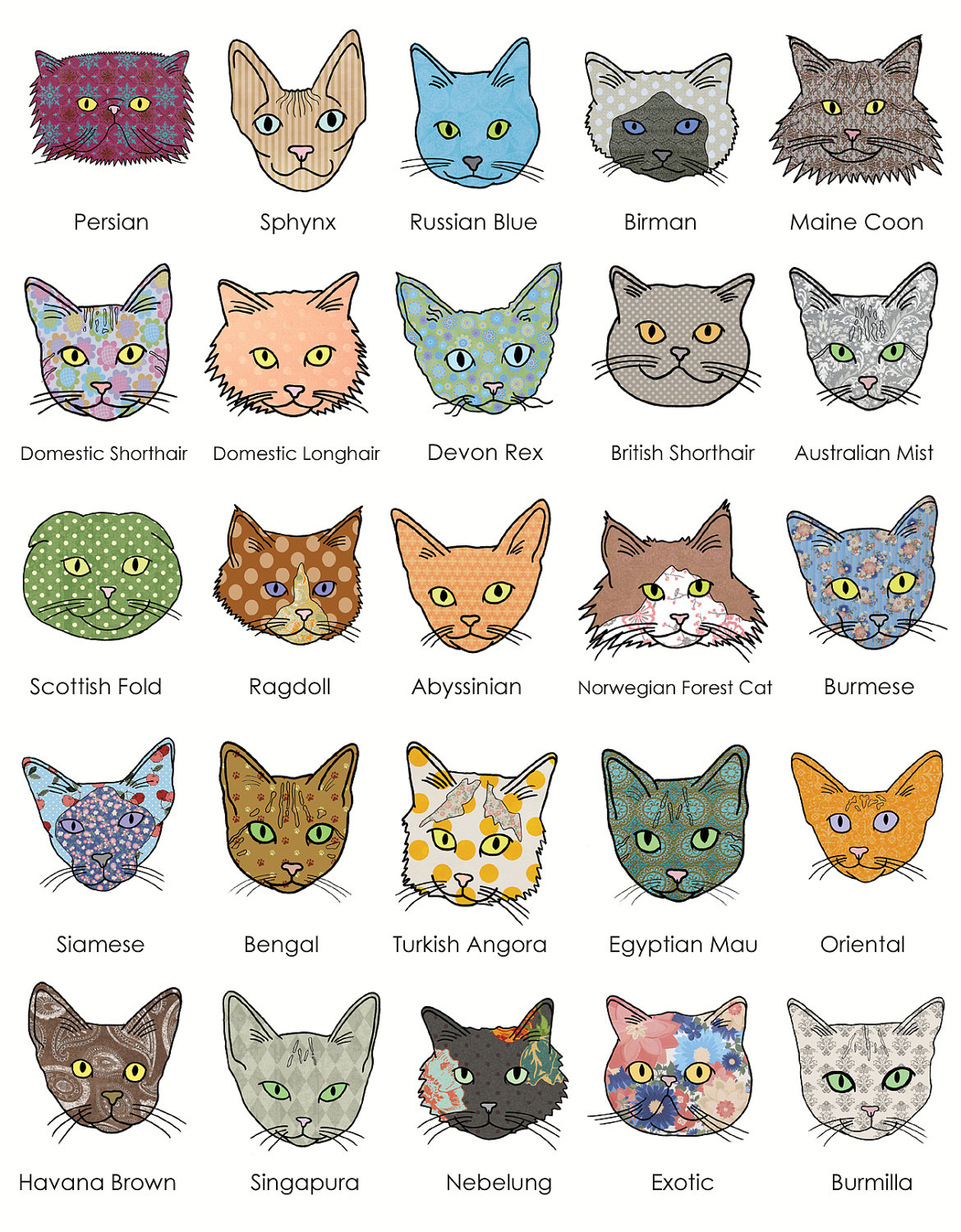Katzenrassen Der Welt Poster Catsparella: Sarah Loves Cats Journal, Print, And Pocket