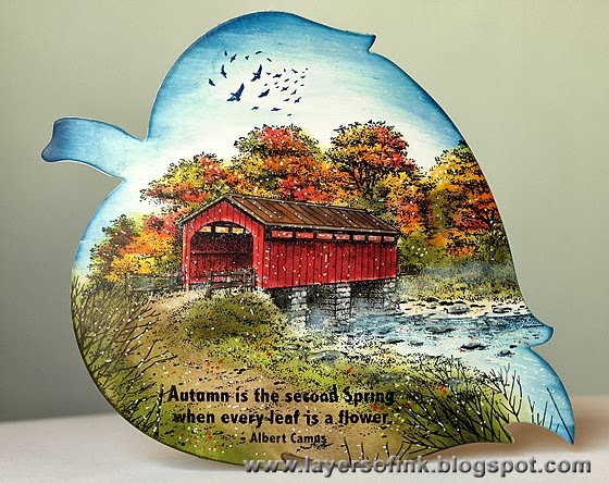 Covered Bridge on a Leaf - Layers of ink