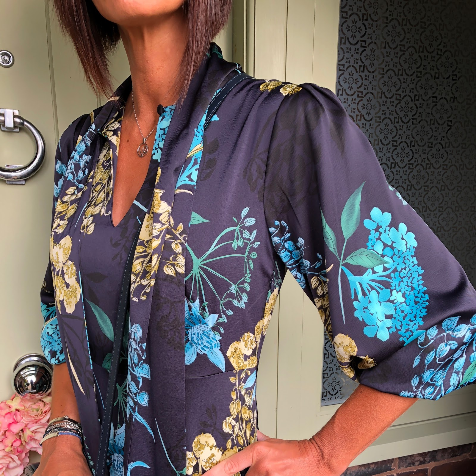 my midlife fashion, marks and spencer floral print long sleeve maxi dress