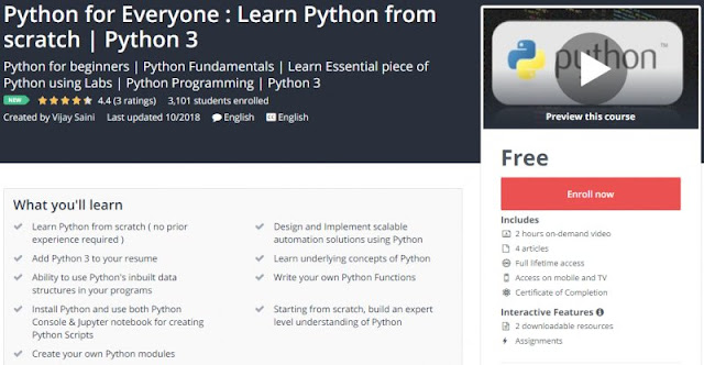 [100% Free] Python for Everyone : Learn Python from scratch | Python 3