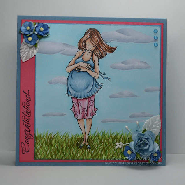 Elizabeth Whisson, Alshandra, Mo Manning, Mother to Be, handmade card, Copic, speed colouring, tutorial, video, outdoor backgrounds, clouds, grass, pregnant,