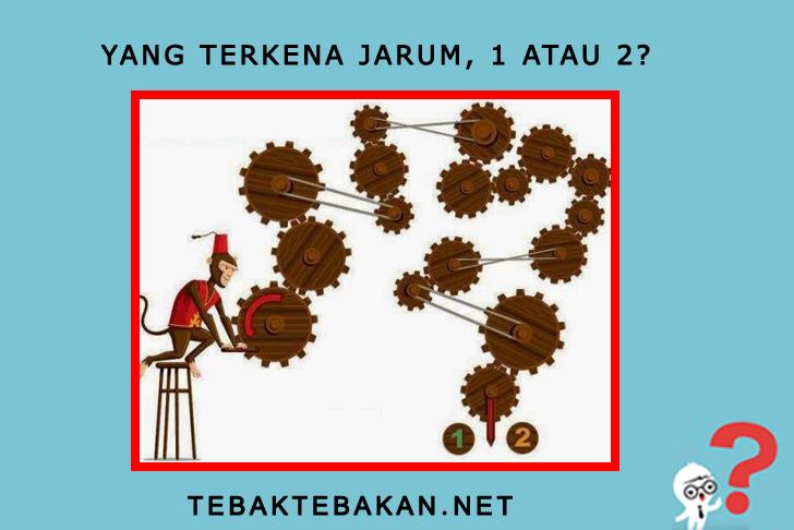 Saat monyet memutar roda gigi, mana yang akan terkena jarum merah lebih dahulu , 1 atau 2?