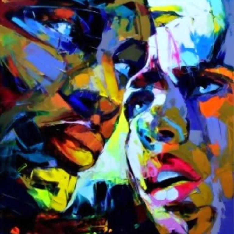 Cuadros modernos pinturas y dibujos rostros con pintura for Imagenes de cuadros abstractos grandes