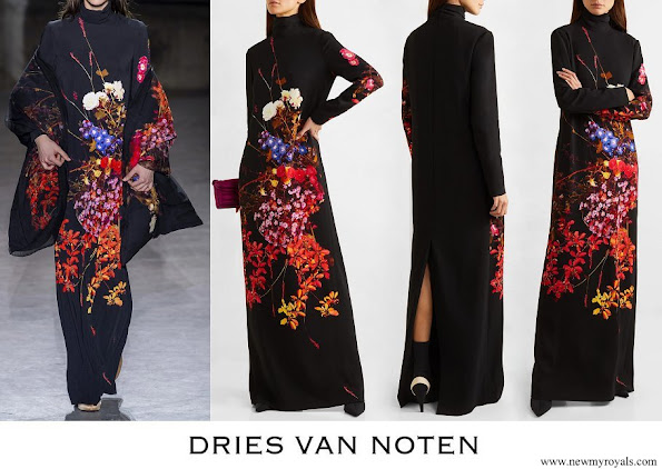 Queen Mathilde wore DRIES VAN NOTEN Dolfi floral-print crepe maxi dress