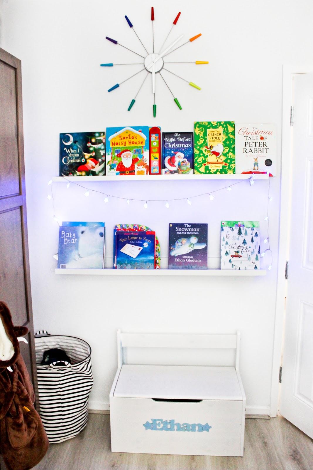 christmas home decor tour, kids christmas books, kids christmas bookshelf