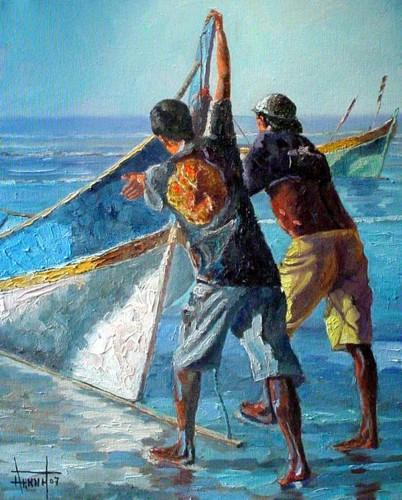 De Arte Em Arte Pinturas De Pescadores Em Seus Barcos De Pesca