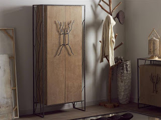 Armario baño o salon en forja y madera