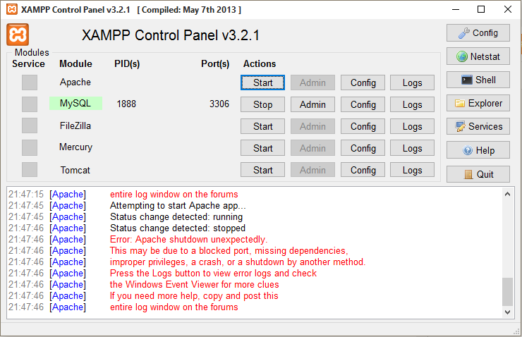 apache xampp tidak bisa running di windows 7