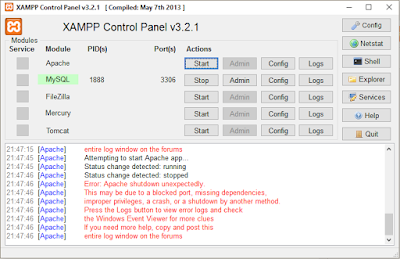 xampp apache error tidak bisa running