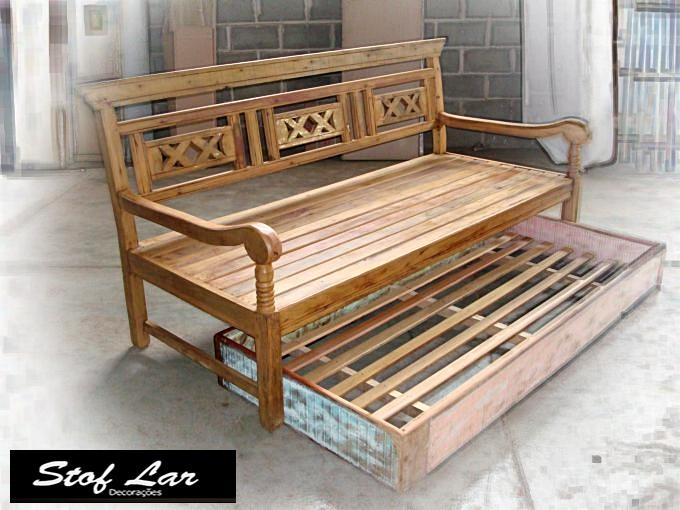 Stof lar decora es m veis em madeira de demoli o for Sofa cama rustico