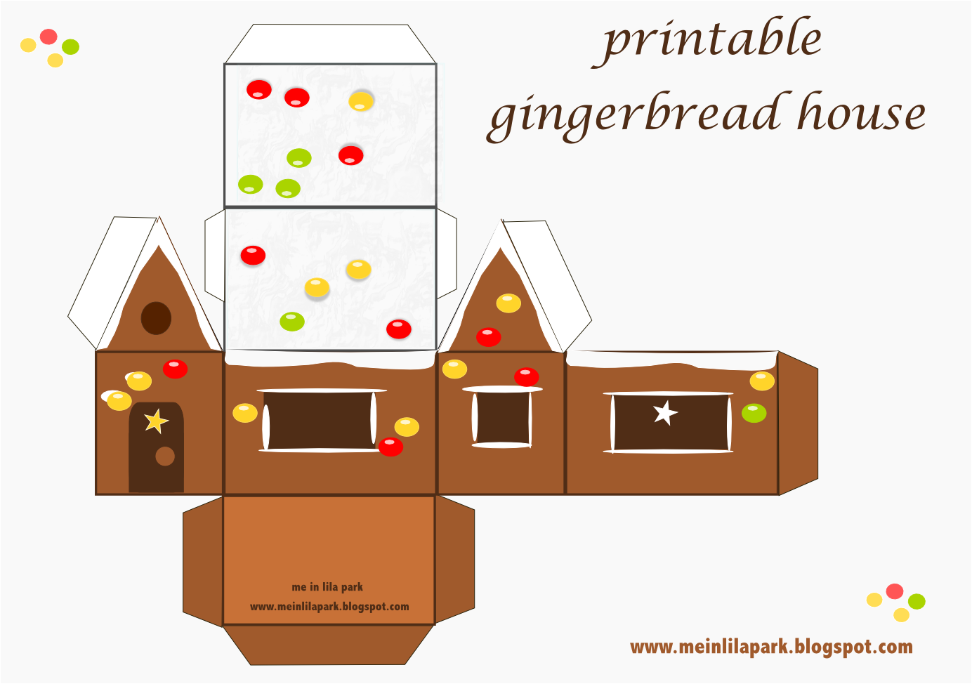 Free printable gingerbread house ausdruckbares for Paper house templates to print