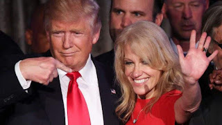 How did this photo of Donald Trump and Kellyanne Conway get here, anyway? I certainly didn't post it. And, do you notice the way her eyes follow you, wraith-like, wherever you go???