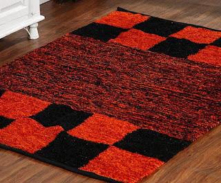 Enfin Homes Chennile Checkers Orange Black Carpet