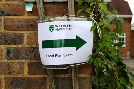Photograph of a Welwyn Hatfield Local Plan event poster - image courtesy of the Welwyn Hatfield Times