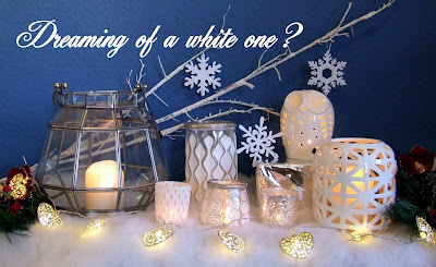 Lanterns and tealights arrangement with text Dreaming of a white one?