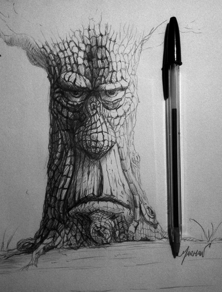 Árbol desafiante, boceto con bolígrafo bic