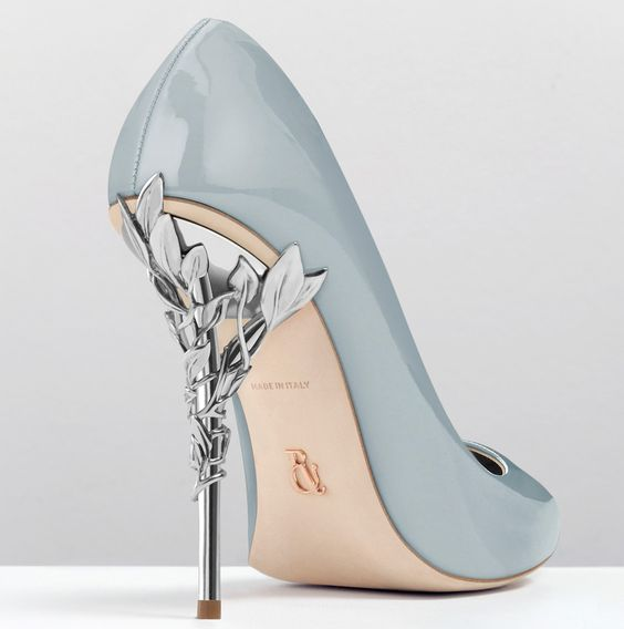 Ralph and Russo - Eden Heel Pump-Sky Blue Patent with Silver Leaves