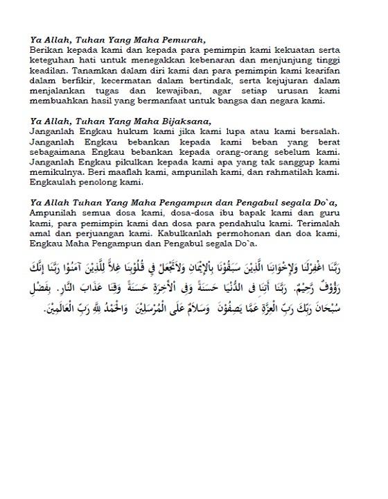 Doa Upacara Peringatan Hari Kesaktian Pancasila 1 Oktober 2017