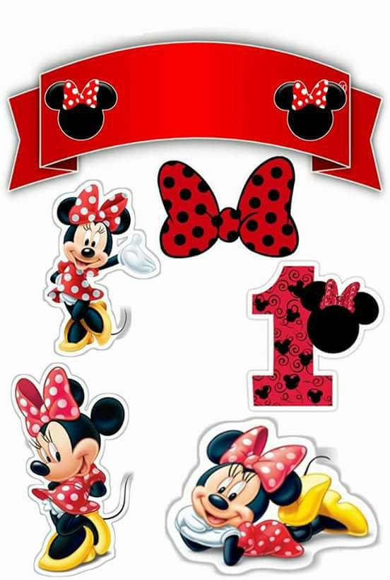 Minnie First Year Free Printable Cake Toppers.