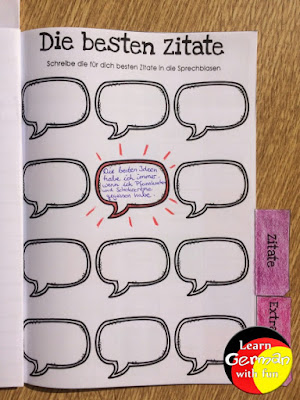 Grundschüler lesen Bücher und schreiben die tollsten Zitate auf.