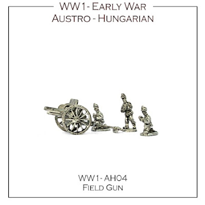 WW1-AH04 Austro-Hungarian Early War 76.5mm Field Gun and Crew - (4 Guns and crews + 4 bases)