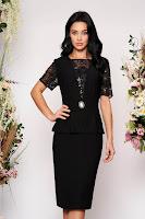 Rochie neagra eleganta midi tip creion cu maneci scurte