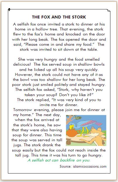 dongeng rubah dan bangau dalam bahasa inggris