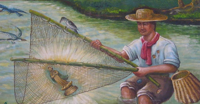 Juan Maningca fishing the image from the river as depicted by a fresco at the Our Lady of Caysasay Shrine.  Image credit:  By Eric Jam - Own work, CC BY-SA 3.0, https://commons.wikimedia.org/w/index.php?curid=30978535.