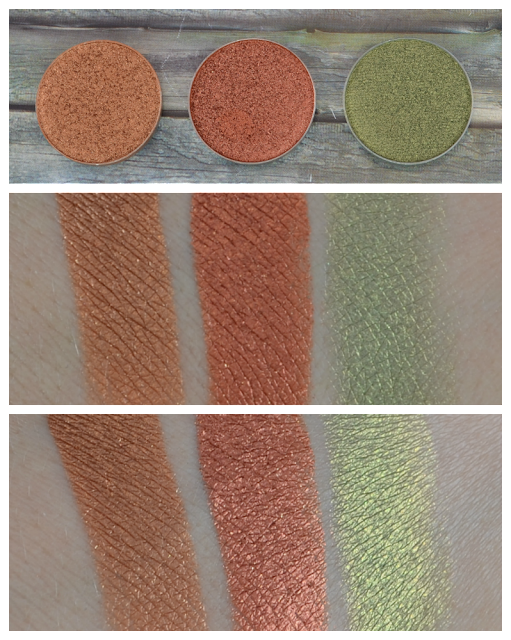 Makeup Geek duochrome eyeshadows legend, flame thrower und jester Swatches