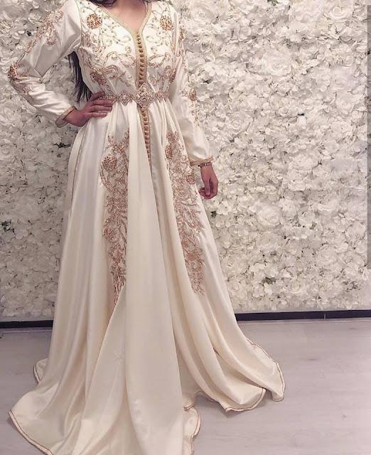 caftan blanc de mariage perlé 2019 pas cher