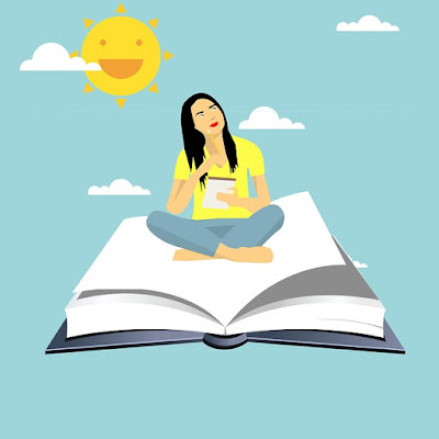 girl writing while sitting on a flying book with a happy sun in the background