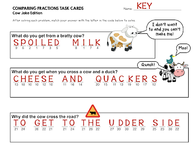 https://www.teacherspayteachers.com/Product/Comparing-Fractions-Task-Cards-Cow-Joke-Edition-with-unique-coded-answers-2441371