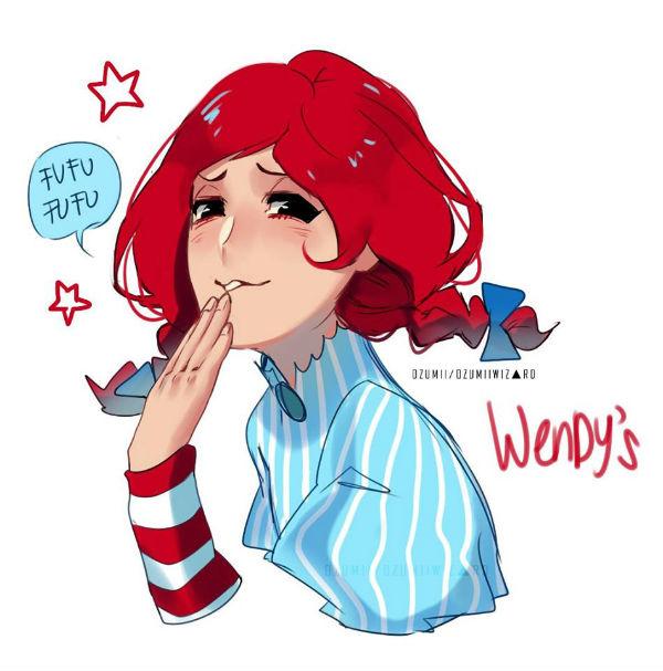 Wendy's jako maskotka z anime