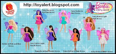 McDonalds Barbie A Fairy Secret happy meal toy set 2011