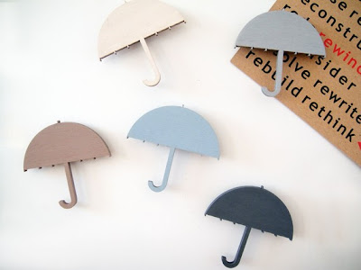 wood magnets shaped like umbrellas