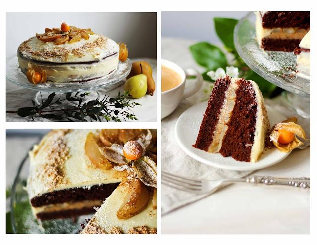 cacao, gâteau, gateau, amandes-grillées,poire, poires, poires-caramélisées