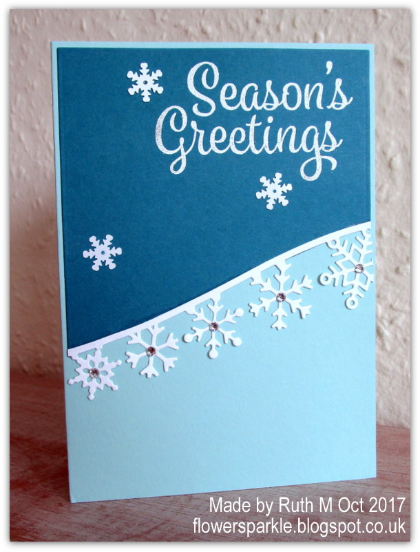 Flower sparkle two snowflake border seasons greetings cards for the second card i decided to emboss the island indigo angled mat layer and i used the su softly falling folder this time i stamped the sentiment on m4hsunfo
