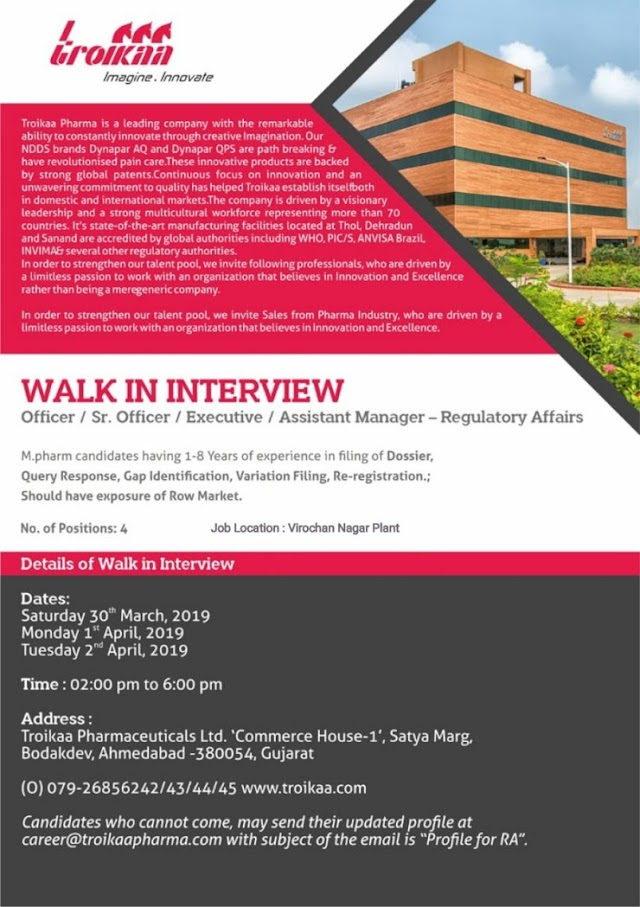 Troikaa Pharmaceuticals - Walk-In Interviews on 30th Mar 1st -2nd Apr' 2019