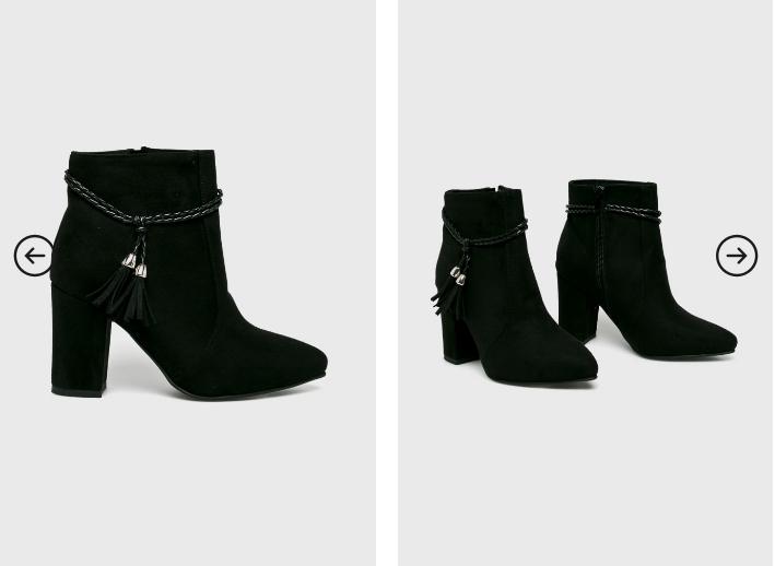Answear - Botine elegante negre cu toc din piele eco intoarsa reducere