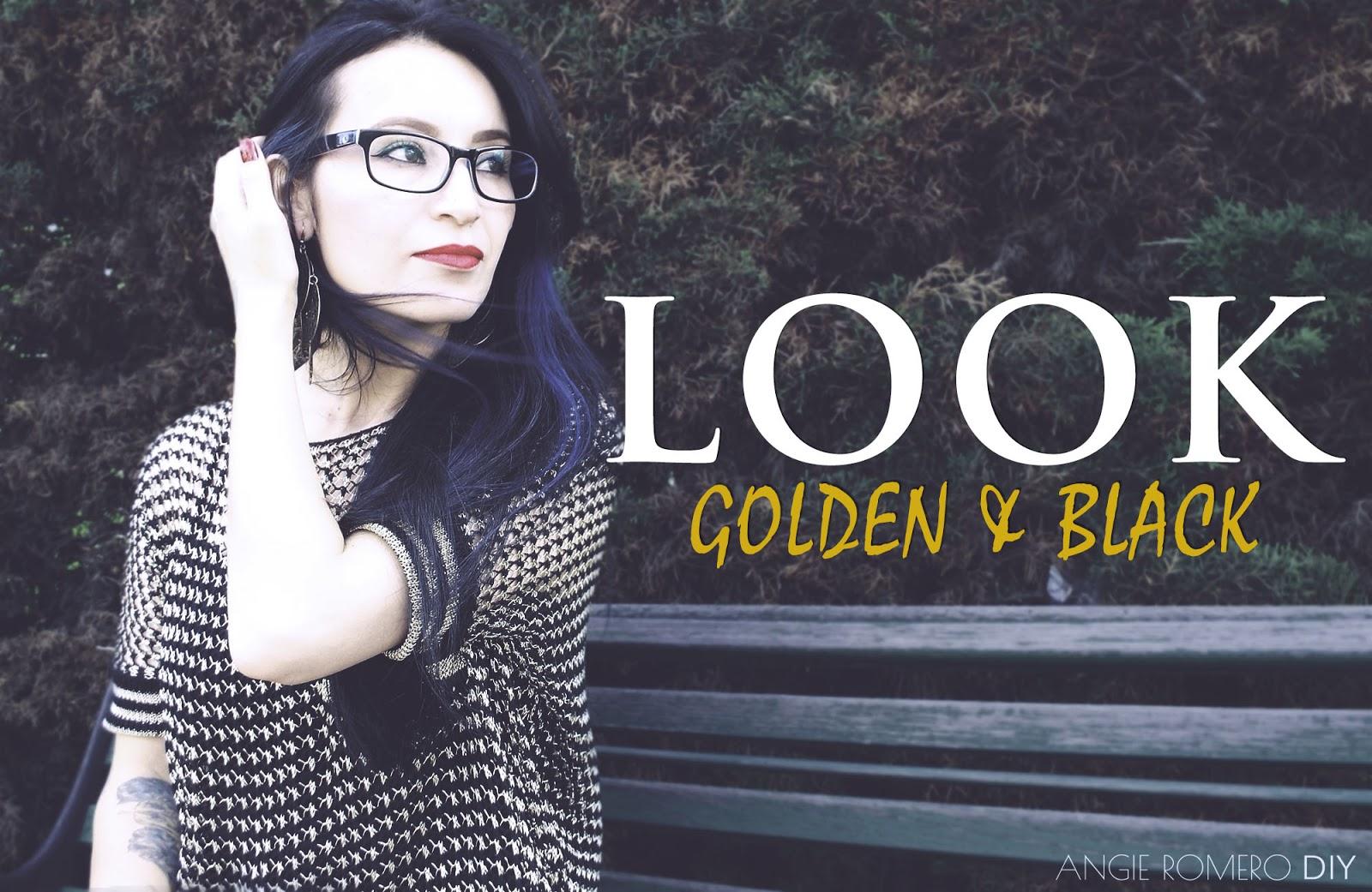 Look del dia en negro y dorado al estilo rockero