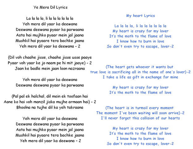 Bollywood Songs Yeh Mera Dil Lyrics English Translation Meaning In Hindi Don By Asha Bhosle Created by líadan on 06 may 2018. bollywood songs blogger