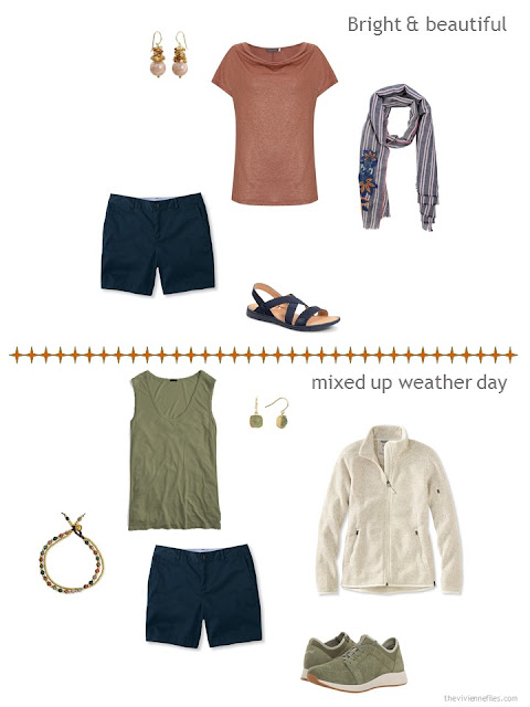 2 ways to style navy shorts from a warm weather travel capsule wardrobe