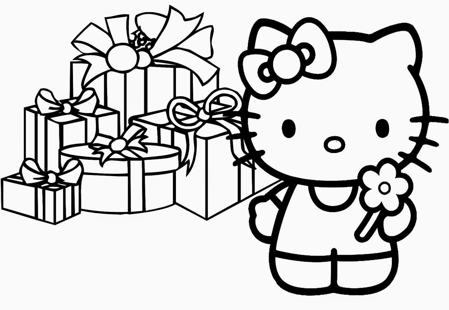 hello kitty christmas coloring pages | hello kitty birthday coloring pages